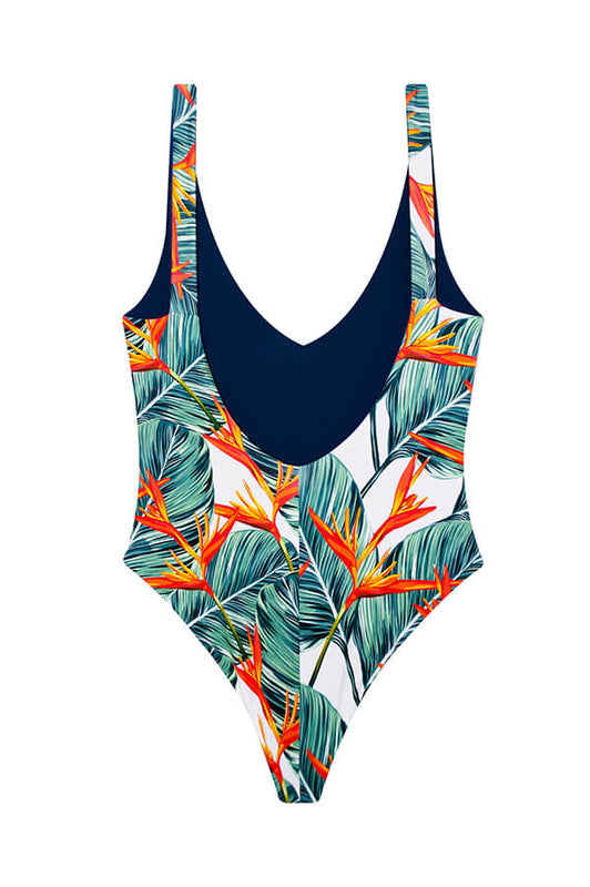maylana swimwear high cut tropical one piece with brazilian coverage