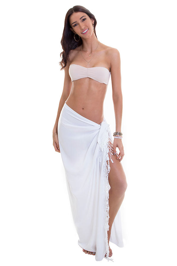 Maylana swimwear women pareo with white color and fringe details