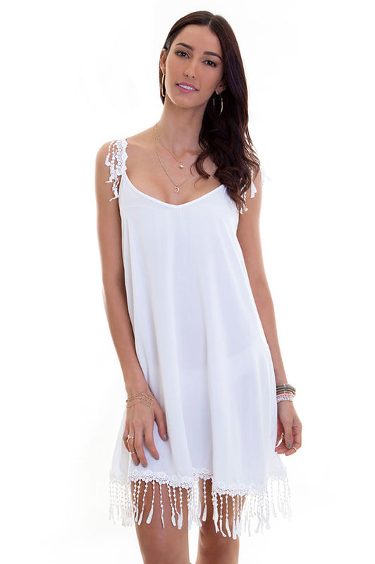 Maylana women sexy white tunic with fringe details