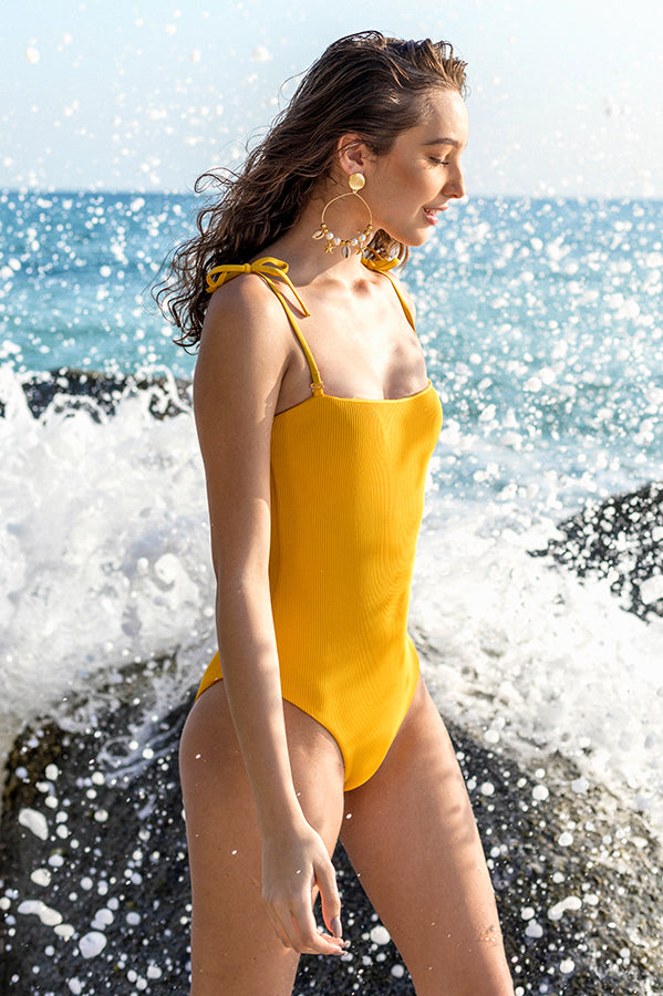 Adrienne Golden Ribbed One Piece