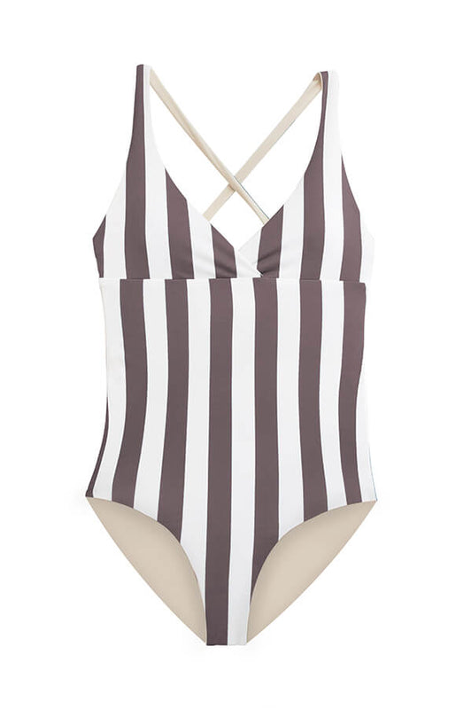 maylana sporty one piece swimsuit stripes print swimwear with moderate cut