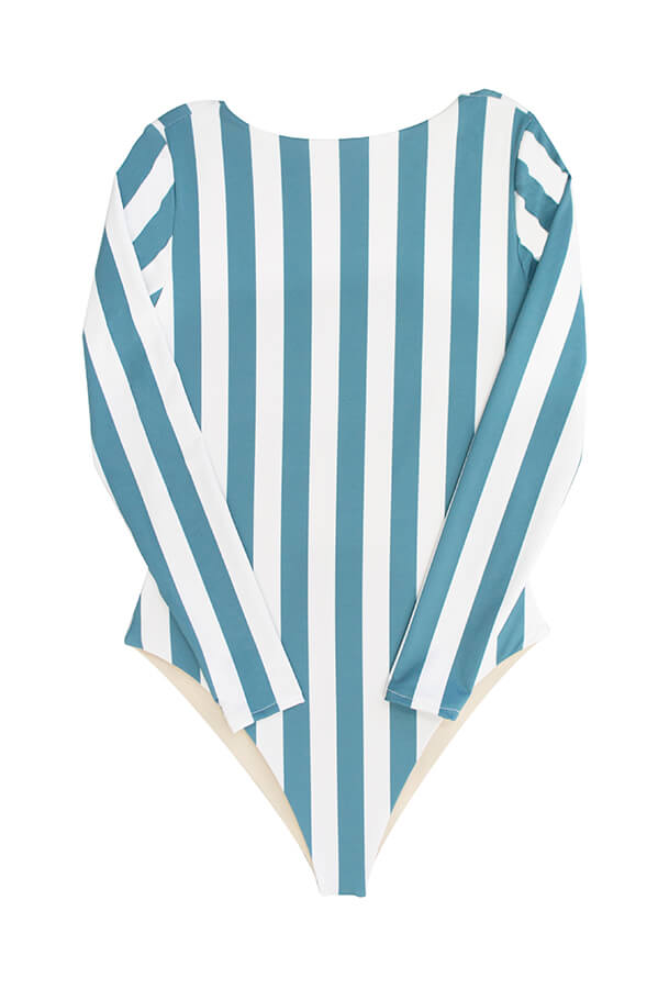 Maylana swimwear long sleeved one piece striped print high neck swimsuit
