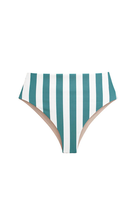 Maylana swimsuit high waisted bottoms striped high cut bikini