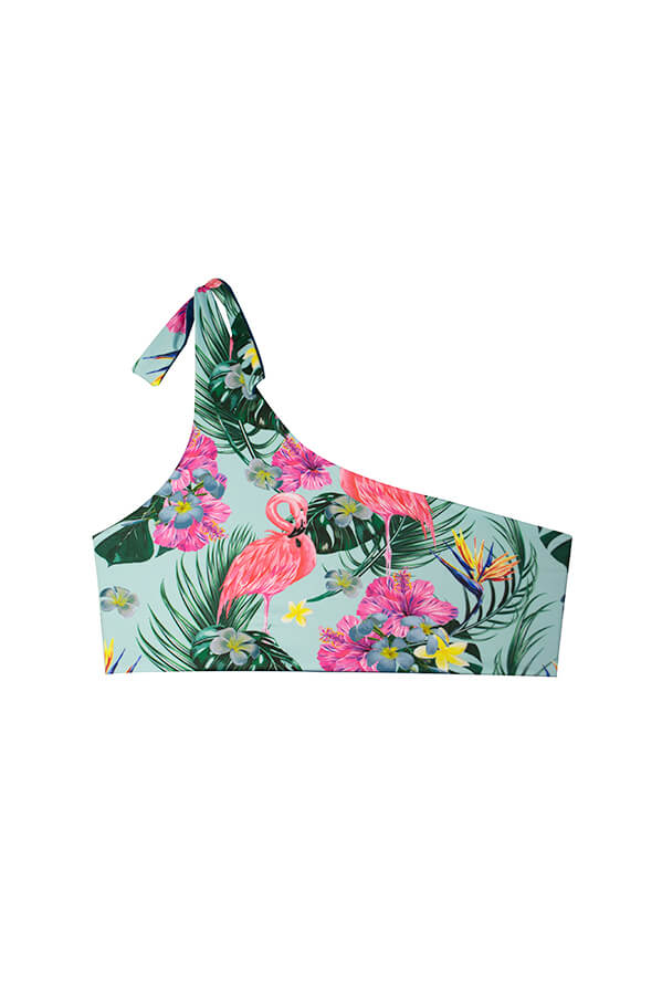 MAYLANA SWIMWEAR TROPICAL PRINT ONE SHOULDER TOP