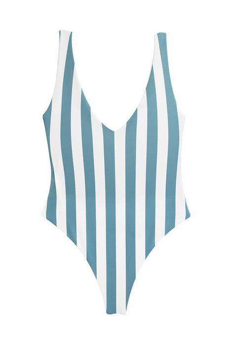 Maylana swimwear stripes high cut one piece brazilian swimsuit