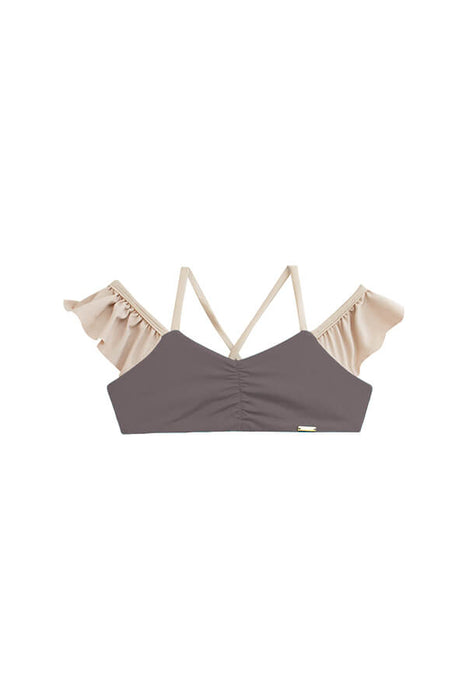 maylana women color block ruffled bikini top features laced details
