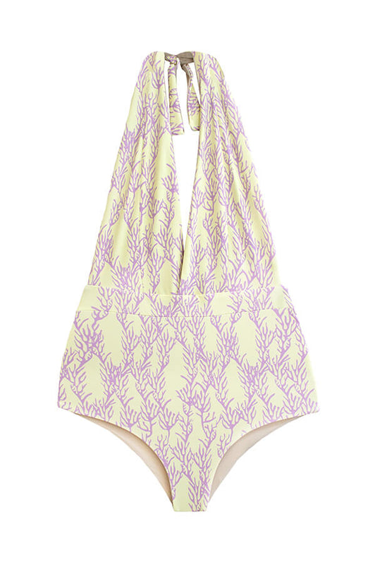 maylana women one piece with coral print full coverage bottom at rear