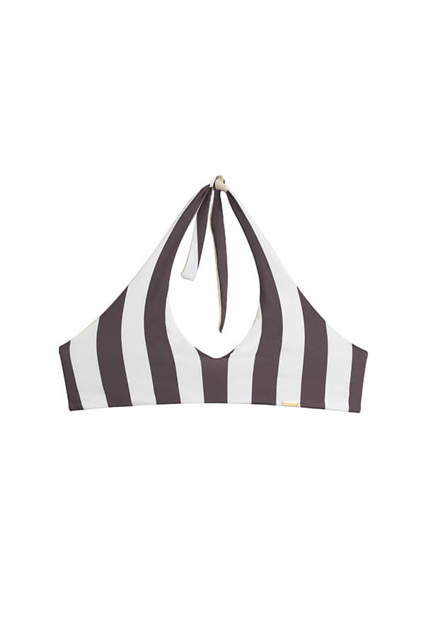 Maylana women striped halter top ties at neck and back