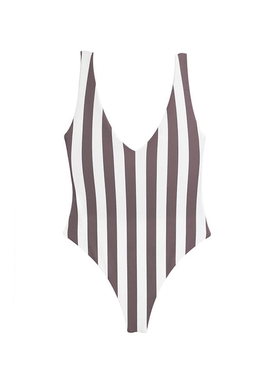 One piece with stripes by maylana swimwear with high cut design