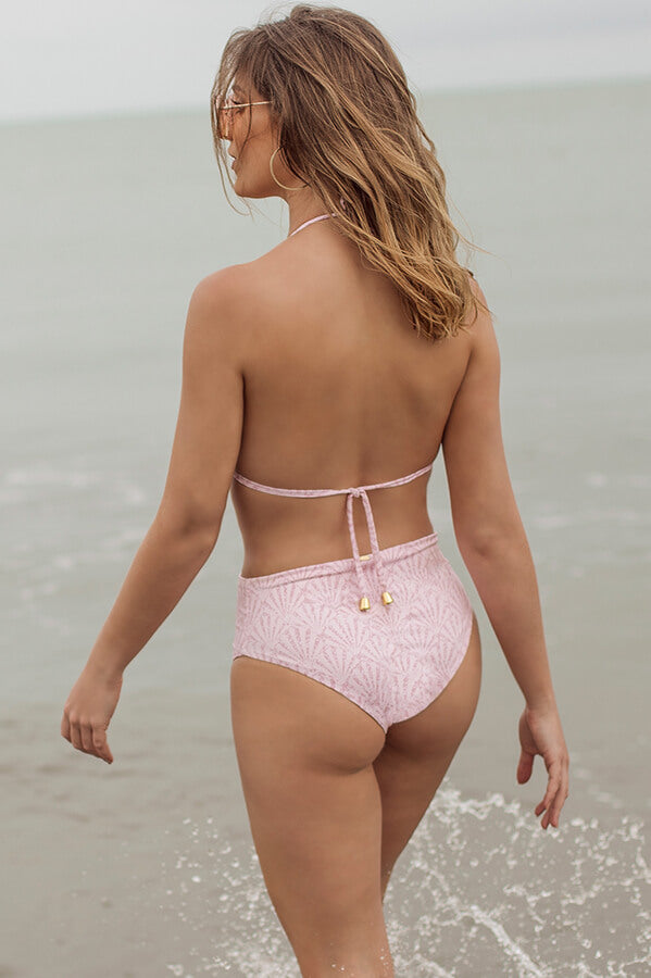 maylana swim high waisted bikini pink cheeky bottom
