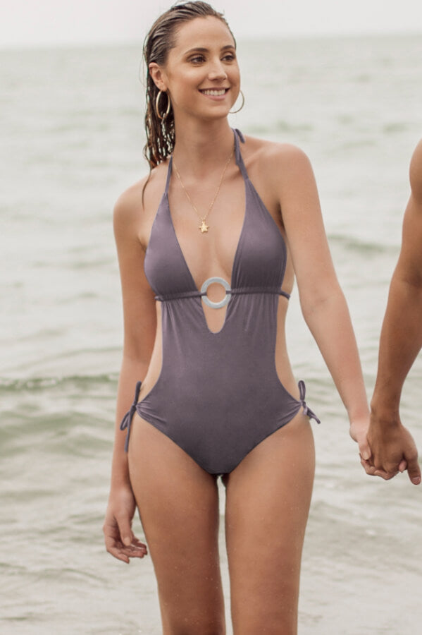 maylana women halter style monokini features ruching detail at back