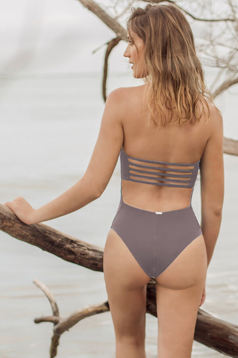 mayalan women strapless one piece features strappy details at back