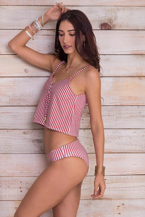 Sofia Red Stripes Tankini Top