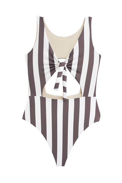 maylana cut out monokini moderate coverage one piece swimsuit with stripes
