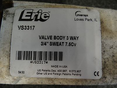 "Erie VS2313 3-way Zone Valve Body - 3/4"" Sweat 7.5Cv"