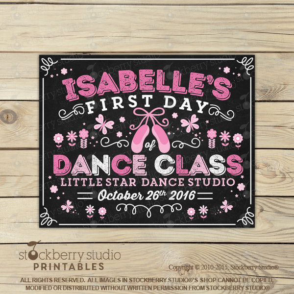 First Day of Dance Sign Printable Dance School Sign - Stockberry Studio
