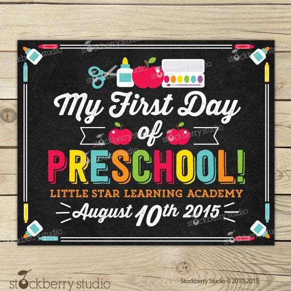 Preschool Sign - Personalized Back to School Poster