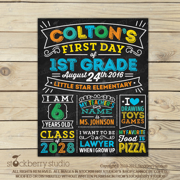 [Personalized First Day of School Chalkboard Sign] - Stockberry Studio