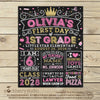 Girl First Day of School Sign Princess Back to School Pink and Gold - Stockberry Studio
