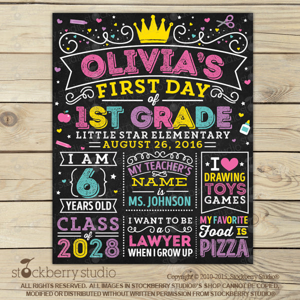 Girl 1st Day of School Sign Pink First Day of School Chalkboard Sign - Stockberry Studio