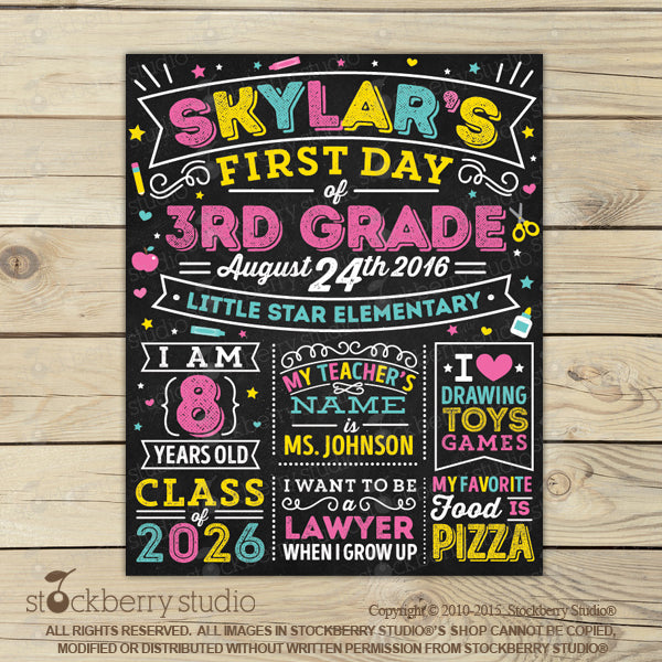 First Day of School Chalkboard - 1st Day of School Sign - Stockberry Studio