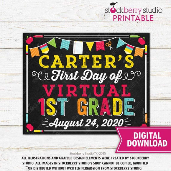 First Day of Virtual School Printable Sign E-learning - Stockberry Studio