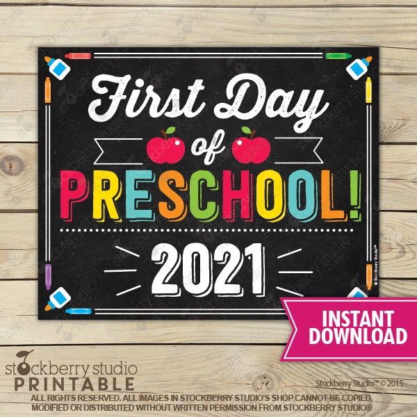 First Day of Preschool 2020 Sign (Primary Colors) - Any Grade