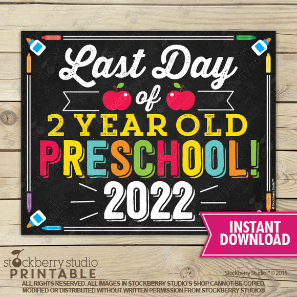 Last Day of Preschool 2020 Sign (Primary Colors) - Any Grade - Stockberry Studio