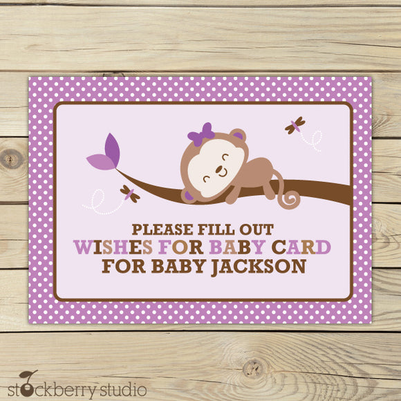 Girl Monkey Baby Shower Wishes for Baby Card Purple - Stockberry Studio