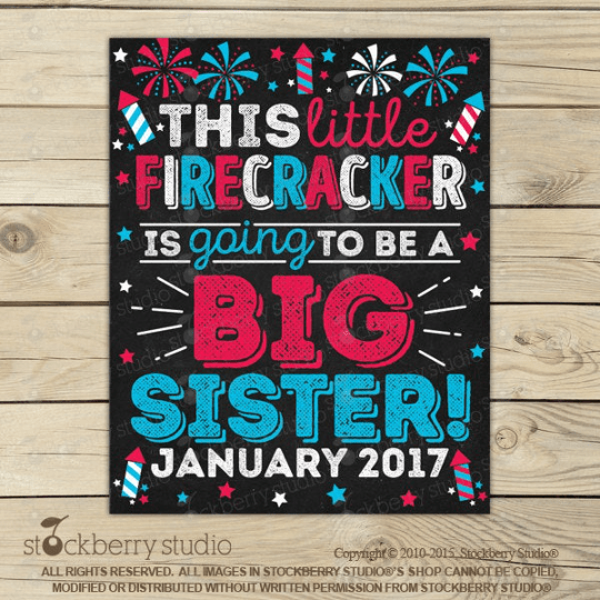4th of July Big Brother Pregnancy Announcement Sign