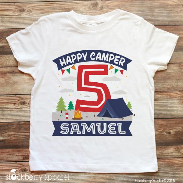 Boy Camping Birthday Shirt Personalized