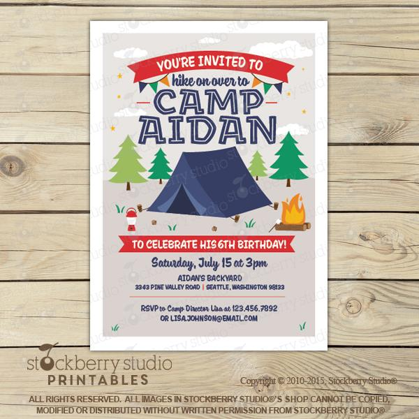 [Camping Birthday Party Invitation] - Stockberry Studio