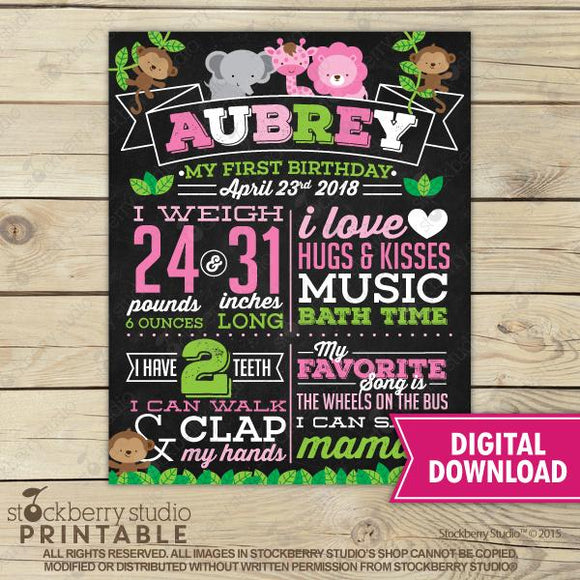 Safari Chalkboard Poster Printable - Jungle First Birthday Chalkboard Sign - Stockberry Studio