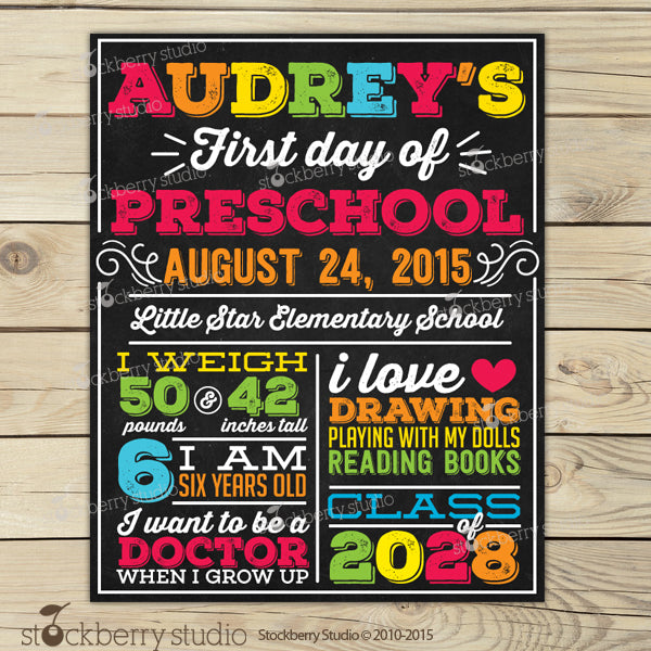 First Day of School Chalkboard Sign 1st Day of School Sign - Stockberry Studio