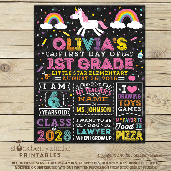 Unicorn First Day of School Personalized Chalkboard Sign