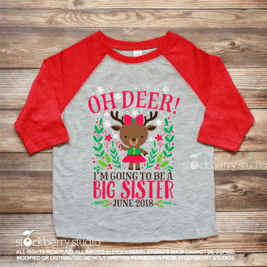 Christmas Big Sister Pregnancy Announcement Shirt Reindeer