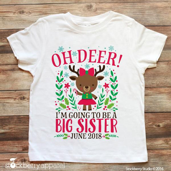 Christmas Big Sister Pregnancy Announcement Shirt Reindeer - Stockberry Studio
