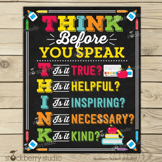 Think Before You Speak Sign - Classroom Rules - Stockberry Studio