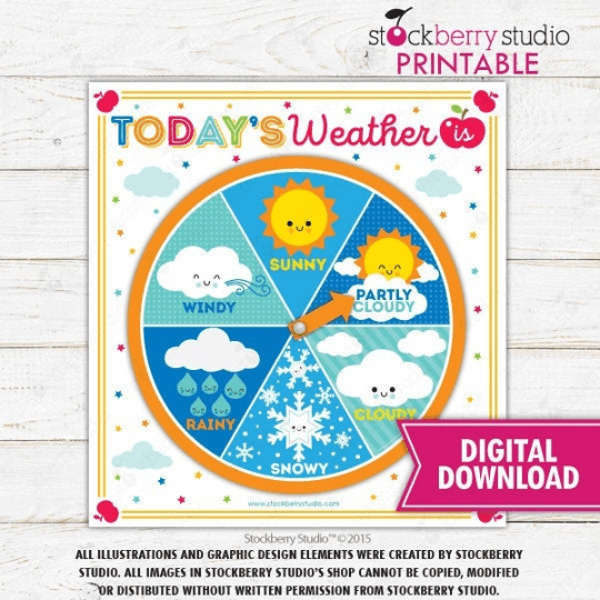 Learning Weather Wheel Game - Homeschool - Preschool - Kindergarten Activity - Stockberry Studio