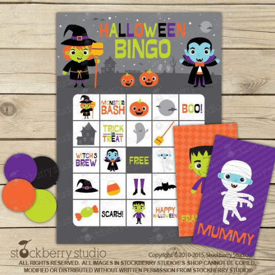 Halloween Bingo Card Game - Printable - Stockberry Studio