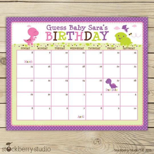 Dinosaur Baby Shower Guess the Due Date Calendar - Stockberry Studio