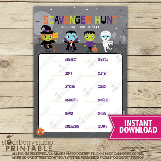 Halloween Scavenger Hunt Party Game - Printable - Stockberry Studio
