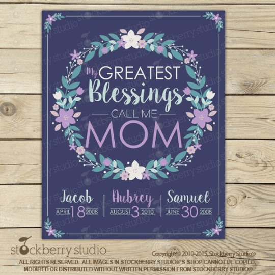 Mother's Day Gift Grandma Gift Printable - My Greatest Blessings Call Me Mom Wall Art