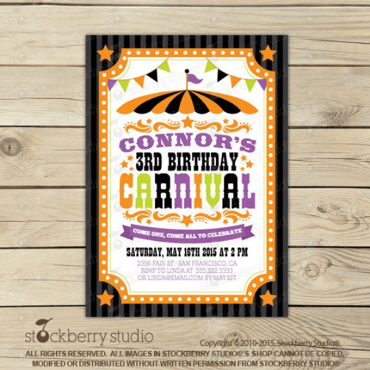 Halloween Carnival Birthday Invitation - Stockberry Studio