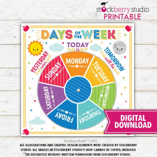Days of the Week Rainbow Wheel and Tracing Worksheet - Homeschool - Preschool - Kindergarten - Stockberry Studio
