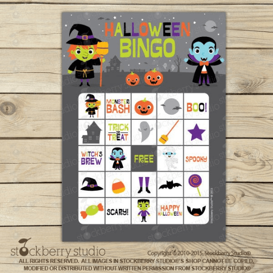 Halloween Bingo Card Game - Printable