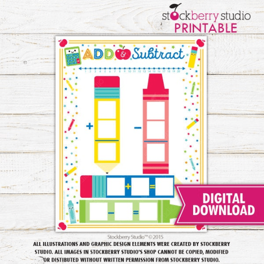 Addition Subtraction Hundreds Math Chart - Homeschool - 1st Grade - Kindergarten Activity - Stockberry Studio
