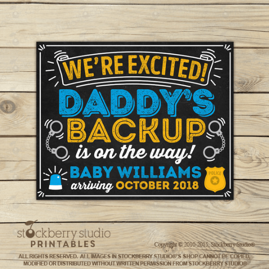 Police Pregnancy Announcement Sign - Stockberry Studio