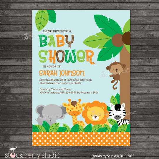 Jungle Safari Baby Shower Invitation - Stockberry Studio
