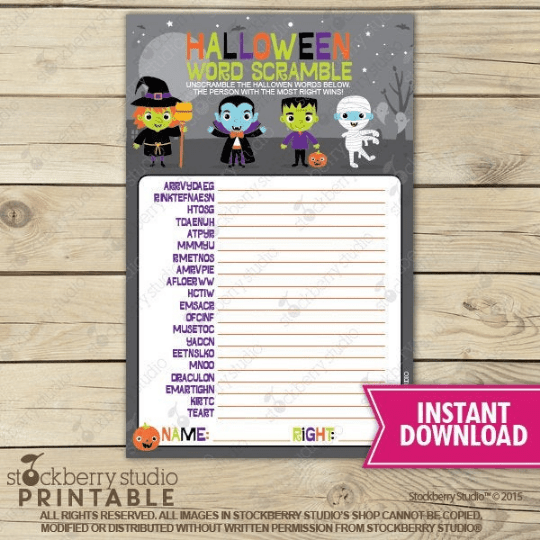 Halloween Word Scramble Party Game - Printable - Stockberry Studio